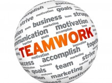 Spehere with the word Teamwork on white background.